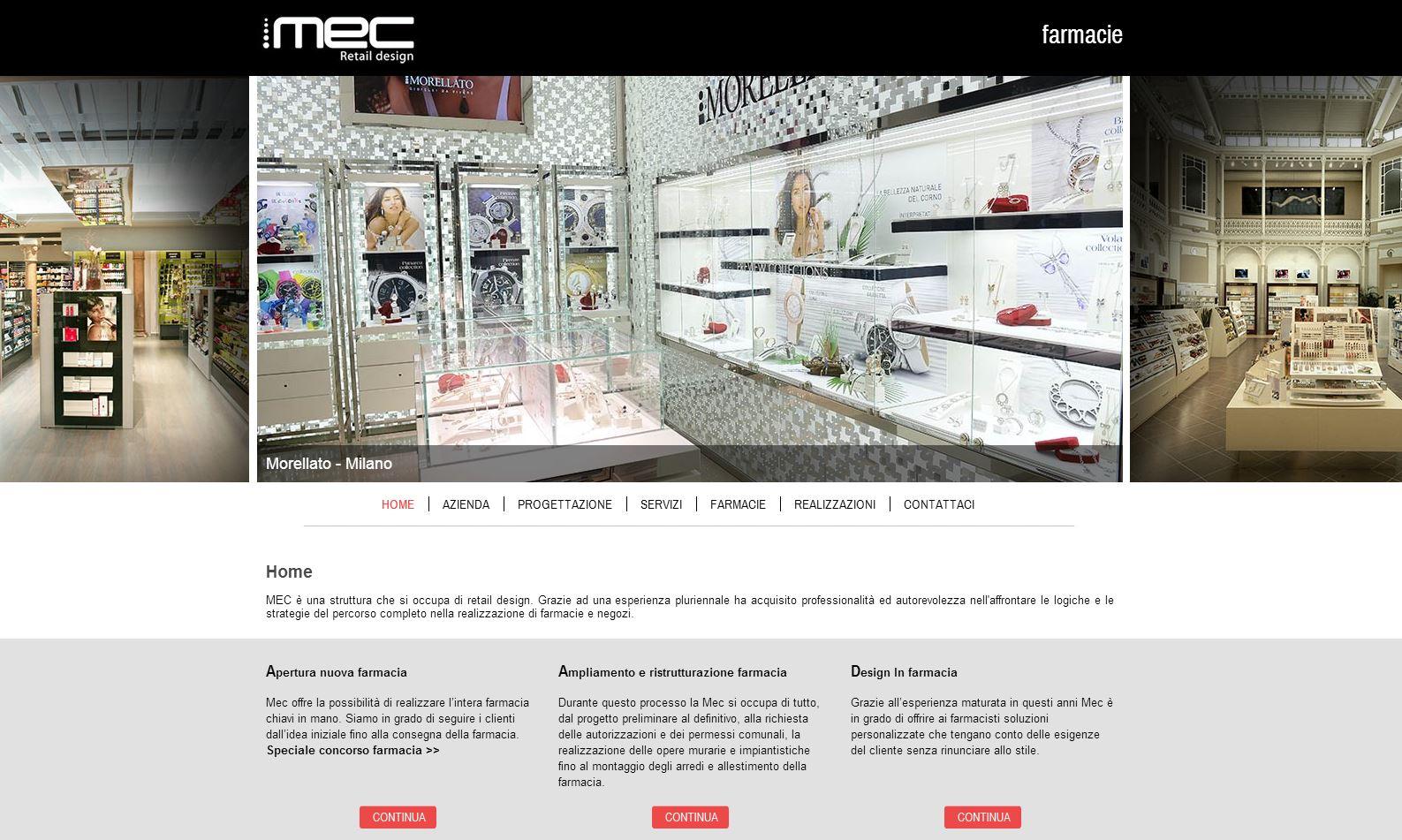 Nuovo sito per mec retail design arredamento farmacie for Sito arredamento design